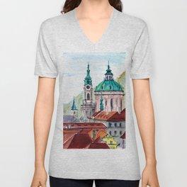 Prague Czech Republic watercolor Unisex V-Neck