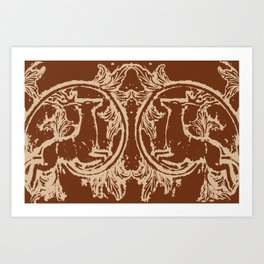Chocolate Asheville Stags a Leaping Art Print