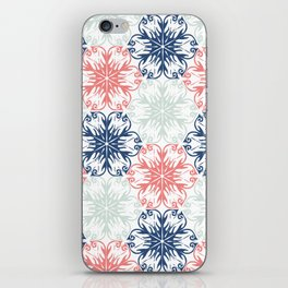 Floral in Aqua, Coral Red and Navy Blue iPhone Skin