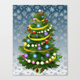Christmas tree & snow Canvas Print