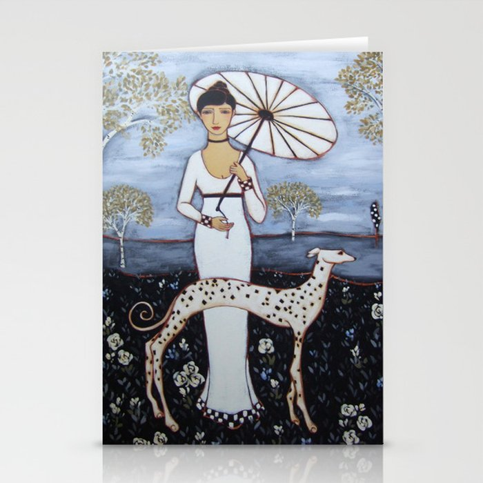 Woman with White Gown, Parasol, Dog and Birch Trees in an Evening Landscape Stationery Cards