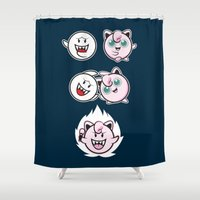 dragonball Shower Curtains featuring Jigglyboo Fusion by Moysche Designs