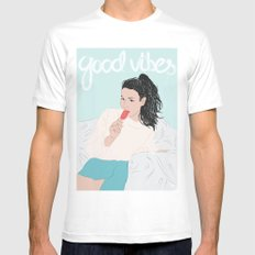 Good Vibes MEDIUM Mens Fitted Tee White