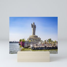 Sailing by the Giant Buddha Statue with Bright Pink Bougainvillea Plants in the Middle of Hussain Sagar Lake in Hyderabad, India Mini Art Print