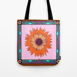 Western Style Chocolate Brown Pink-Orange Sunflower Art Tote Bag