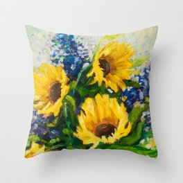 Sunflowers Oil Painting Throw Pillow