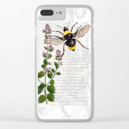 Cottage Style Thyme, Bumble Bee, Hummingbird, Herbal Botanical Illustration Clear iPhone Case