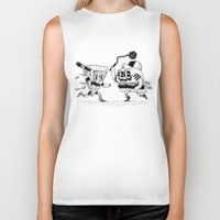 novelty Biker Tanks featuring The ultimate fast food fight! by Alejandro Giraldo