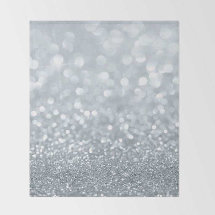 White & Silver Glitter Sparkle Throw Blanket