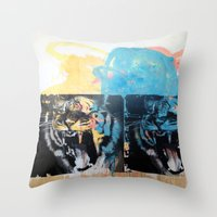 tigers Throw Pillows featuring YAWNING TIGERS by Brandon Neher