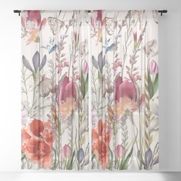 Bright spring field. Romantic pattern Sheer Curtain