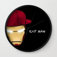 rap Wall Clocks featuring Rap man by Tony Vazquez