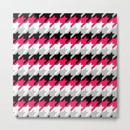 Neon Goth Houndstooth Pattern Metal Print