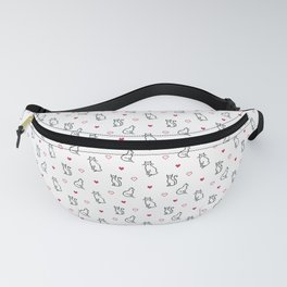 Repeating pattern of cute pixelated black cats and red hearts Fanny Pack