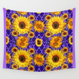 Purple Patterns Floral  Yellow  Sunflower Art Wall Tapestry