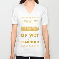 ravenclaw V-neck T-shirts featuring Ravenclaw by Dorothy Leigh