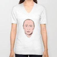 putin V-neck T-shirts featuring Putin by Ricardo Miranda Zuniga