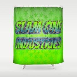 Slam 1 Industries Green Stars Shower Curtain