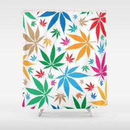 marijuana leaf color pattern Shower Curtain