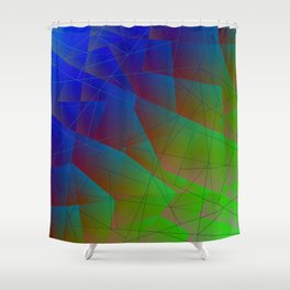 Bright fragments of crystals on irregularly shaped blue and green triangles. Shower Curtain