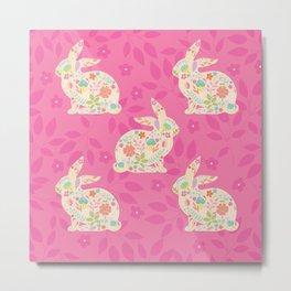 Pink Spring Rabbits Metal Print