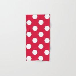 Large Polka Dots - White on Crimson Red Hand & Bath Towel
