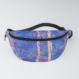 White Trees Light Blue Sky In February Watercolor Fanny Pack