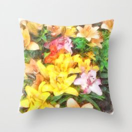 Lilies Love and Light Throw Pillow