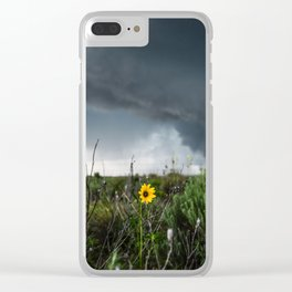 Stormflower - Sunflower and Storm in Texas Clear iPhone Case