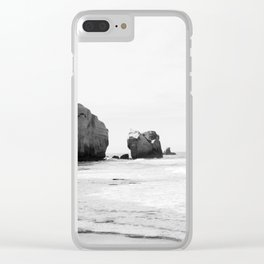 Black and White Dunedin beach - New Zealand Clear iPhone Case