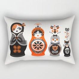 Russian Nesting Dolls – Red & Black Rectangular Pillow