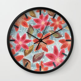 Cute Lilies and Leaves Wall Clock