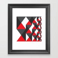 Red, White & Gray Triangle Pattern Framed Art Print