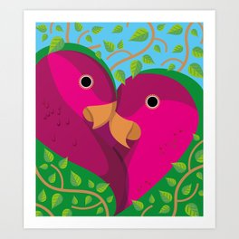 Tropical Lovebirds Art Print