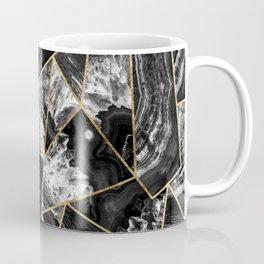 Black White Agate Black Gold Geometric Triangles Coffee Mug