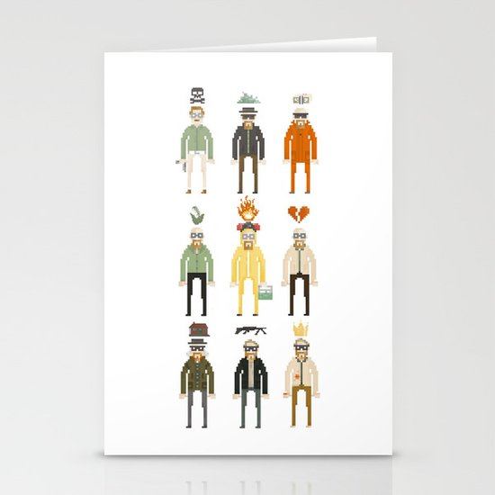 Walter White Pixelart Transformation- Breaking Bad Stationery Cards