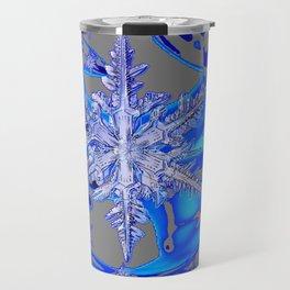 MODERN ROYAL BLUE WINTER SNOWFLAKES GREY ART Travel Mug