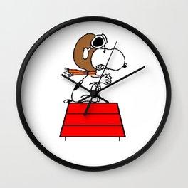 flying pilot snoopy fun Wall Clock