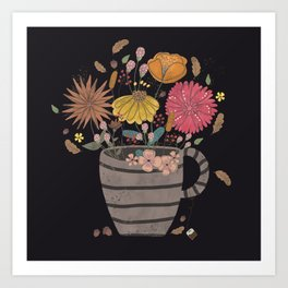 A cup of flowers Art Print