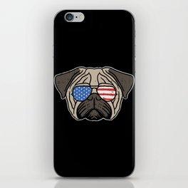 Patriotic Pug iPhone Skin