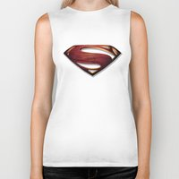 man of steel Biker Tanks featuring Man of Steel by Fortale