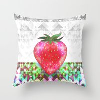 strawberry Throw Pillows featuring Strawberry by Ornaart