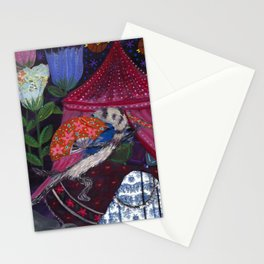 Ferret with Floral Fighting Fans Stationery Cards