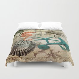 french botanical art seahorse teal green starfish Duvet Cover