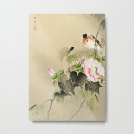 Bird sitting on a bush - Vintage Japanese Woodblock Print Art Metal Print