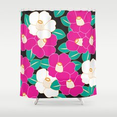 Japanese Style Camellia - Pink and Black Shower Curtain