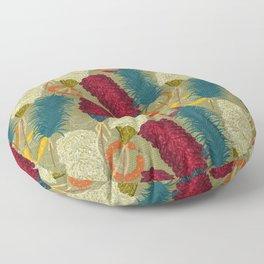 Hawaiian Kahili Featherwork Floor Pillow