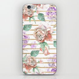Watercolor coral violet gold geometrical floral iPhone Skin
