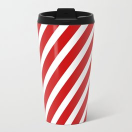 Red Diagonal Stripes Travel Mug