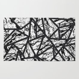 Geometric Black and White Marble Triangles Pattern Rug